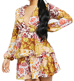 Floral Plunge Front Tiered Ruffled Mini Dress