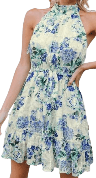 Floral Print Halter Dress-Shein
