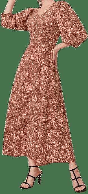 Floral Puff Sleeve A-Line Dress-Shein