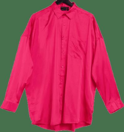 Fuscia Oversized Satin Shirt
