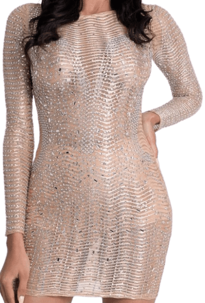 Gold Embellished Mini Dress-Sheer Collective