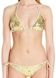 Gold Sequin Pucker Back Bikini