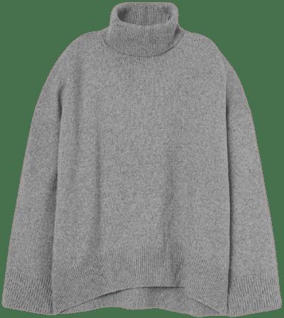 Gray Melange Turtleneck Sweater-H&M