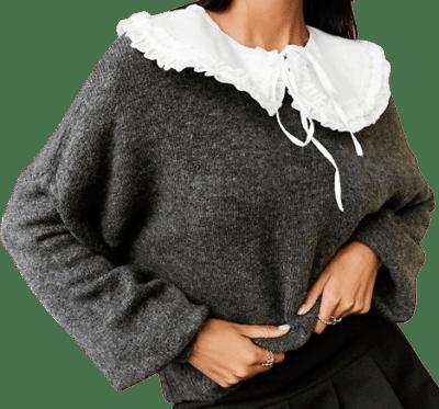 Gray Sweater With Detachable Woven Collar-Asos Design