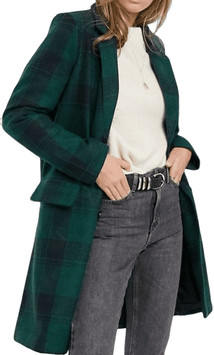 Green Berwick Tailored Check Coat-Brave Soul
