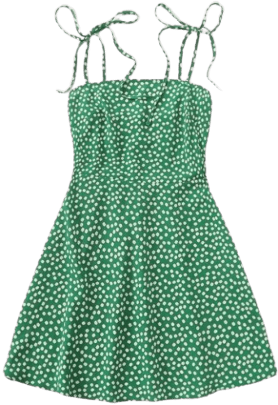 Green Ditsy Floral Dress-Shein