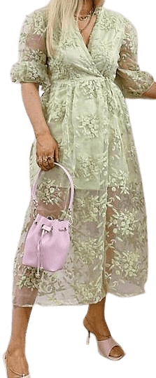 Green Floral Embroidery Midaxi Dress-Labelrail