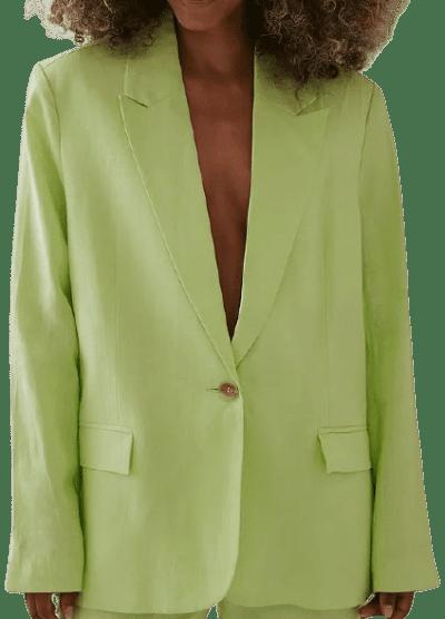 Green Oversized Linen Blazer-Angelica Blick x NA-KD