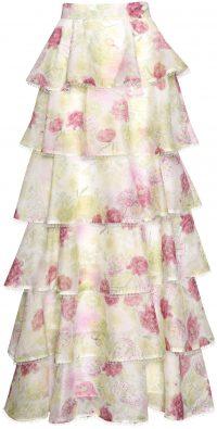 Green Pink Watercolour Print Tiered Maxi Skirt-True Decadence