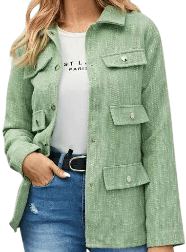 Green Press Buttoned Tweed Coat-Shein