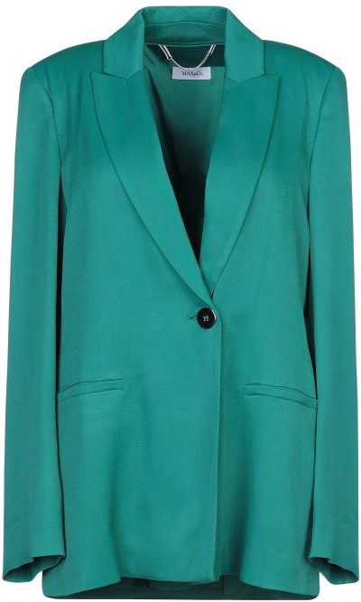 Green Satin Single-Breasted Blazer