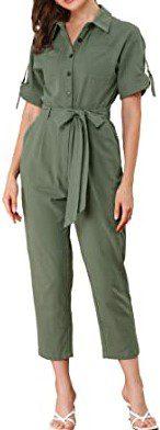 Green Short Sleeve Cargo Jumpsuit-Allegra K