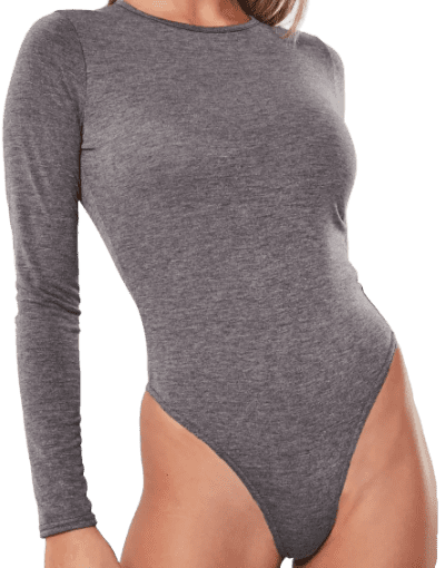 Grey Crew Neck Bodysuit