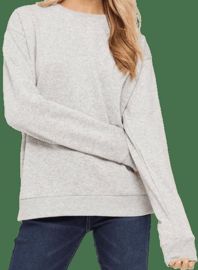 Grey ME to WE Basic Fleece Sweatshirt-Ardene
