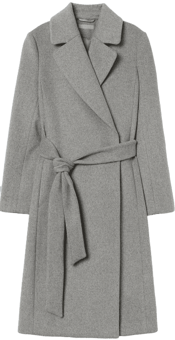 Grey Melange Wool-Blend Coat
