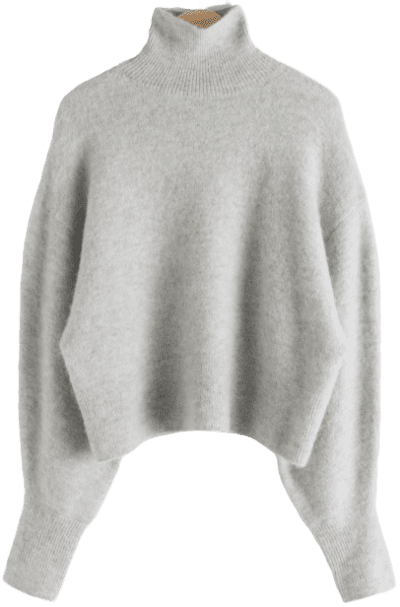 Grey Soft Wool Blend Turtleneck Sweater-& Other Stories