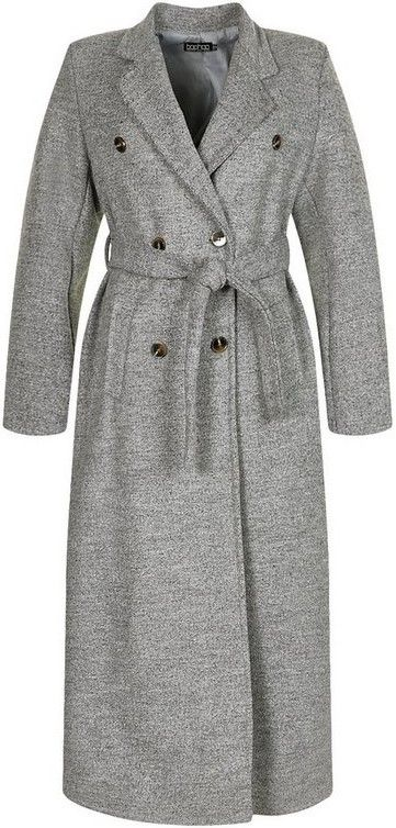 Grey Tall Double Breasted Wool Look Longline Coat-Boohoo
