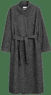 Grey Woolen Coat With Belt-Mango