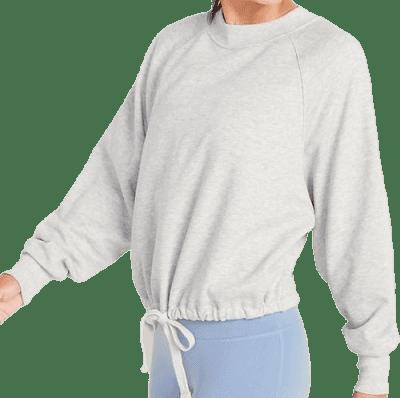 Heather Gray Loose Dolman-Sleeve Drawstring-Hem Sweatshirt-Old Navy