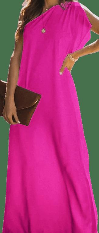 Hot Pink One Shoulder Slit Maxi Dress-IVRose