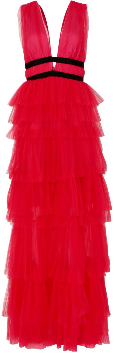 Hot Pink Plunge Front Tulle Layered Maxi Dress-True Decadence