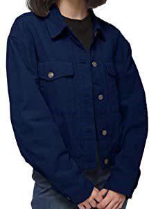 Indigo Blue Corduroy Button Down Jacket-Anna-Kaci