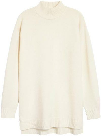 Ivory Cloud Wool & Cashmere Turtleneck Sweater-Halogen