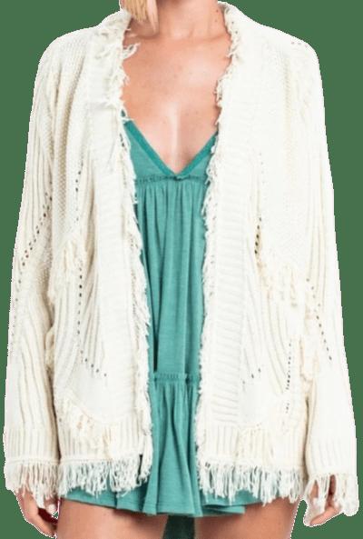 Ivory Lighthouse Ivory Fringe Cardigan Sweater