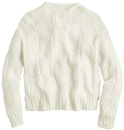Ivory Pointelle Cable Sweater