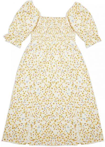 Ivory Puff Sleeve Shirred Floral Print Dress-Miss Selfridge