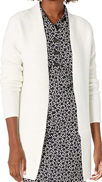 Ivory Ribbed Long Sleeve Open Front Cardigan-Lark & Ro