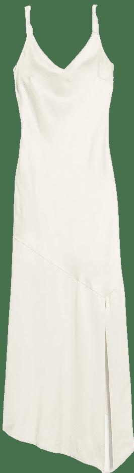 Ivory Satin V-Neck Midi Slip Dress