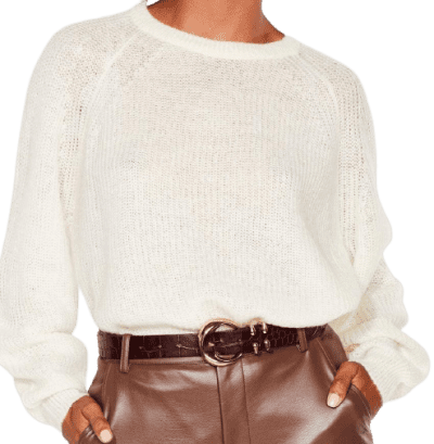 Ivory See You Balloon Sleeve Knit Sweater-Nasty Gal