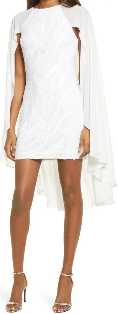 Ivory Sequin Cape Minidress-One33 Social