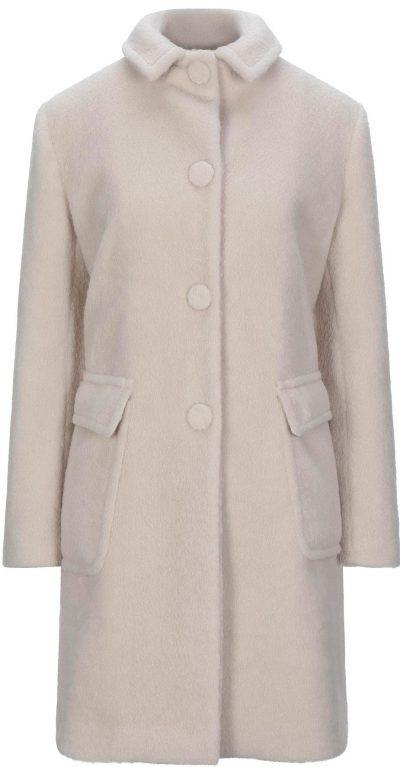 Ivory Velour Single-Breasted Coat