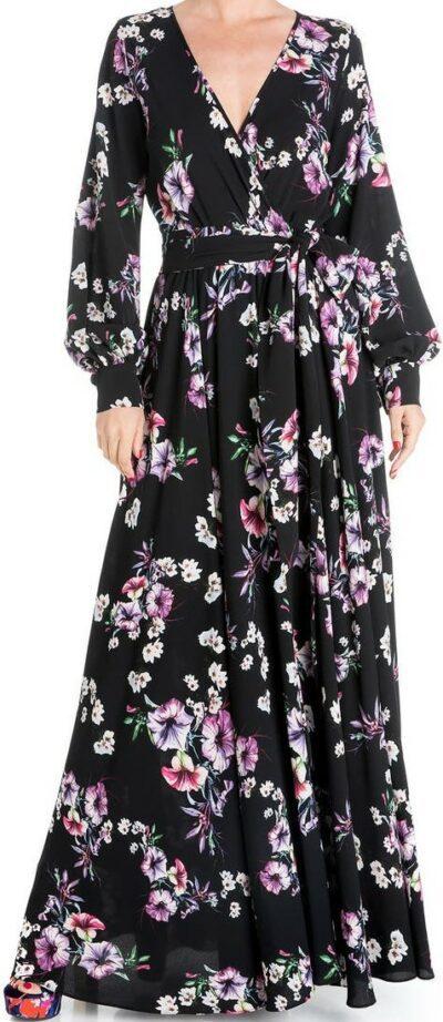 Jasmine Black Lilypad Floral Maxi Dress-Meghan LA