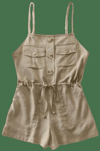 Khaki Double Pocket Drawstring Cami Romper