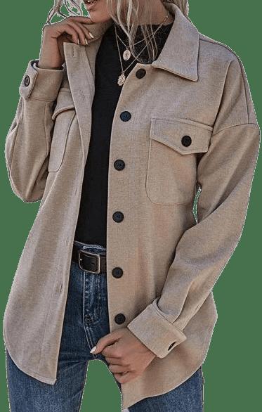 Khaki Flap Pocket Belted Coat-Shein