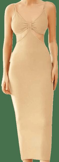 Khaki Ruched Cut-Out Bandage Dress-ADYCE
