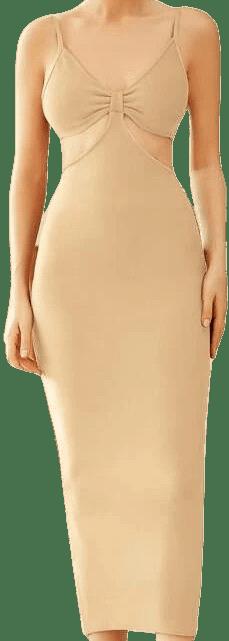 Khaki Ruched Cut-Out Bandage Dress-Shein