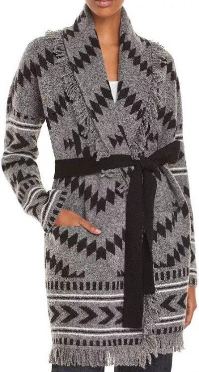 Knit Belted Fringed Cardigan-AQUA