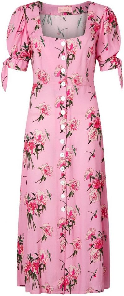 Lenora Pink Peony Print Dress-KITRI