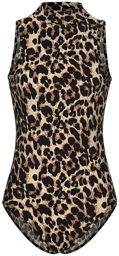 Leopard Mock Neck Sleeveless Bodysuit-Mulisky