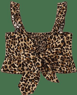 Leopard Tie Front Ruffle Crop Top