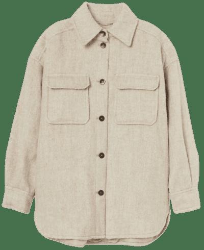 Light Beige Wool-Blend Shacket-H&M