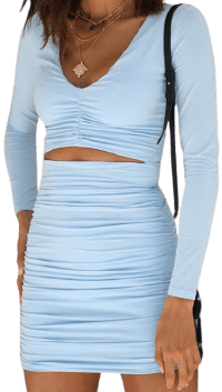 Light Blue Cut Out Deep V-neck Ruched Mini Dress-CiChic