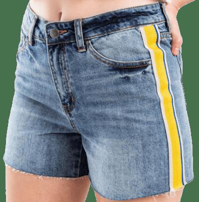 Light Blue Kayla Racer Striped Denim Shorts