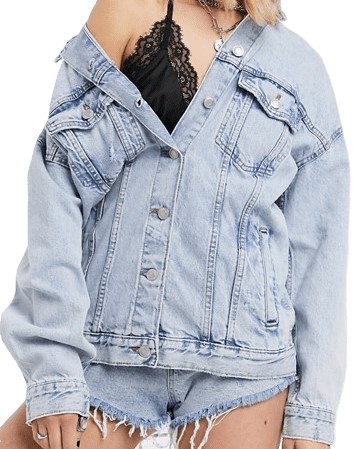 Light Blue Oversized Denim Jacket-Bershka