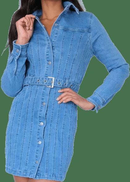 Light Blue Seam Denim Dress-Missguided