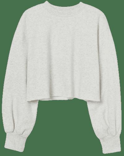Light Gray Melange Cropped Sweatshirt-H&M